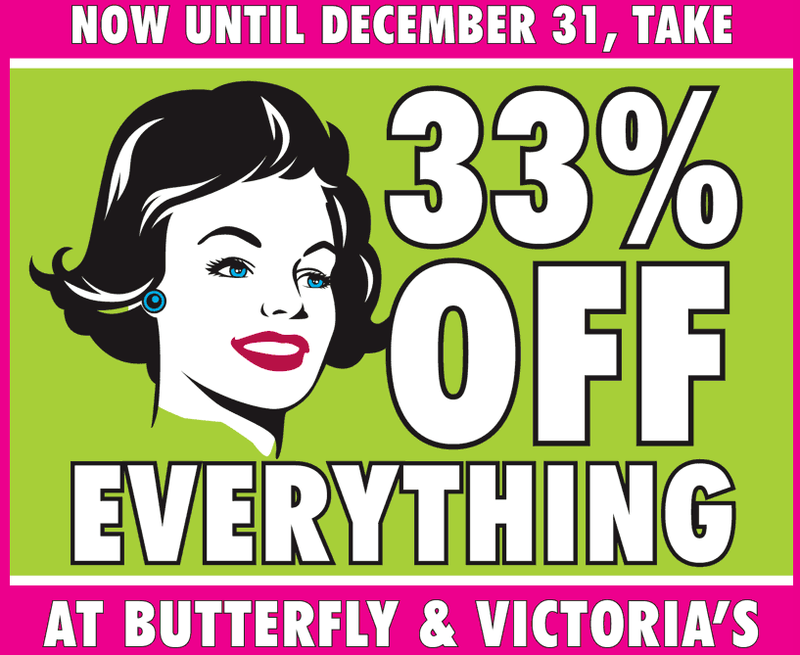 33 percent off butterfly