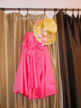 Coral dress and penelope jean hat